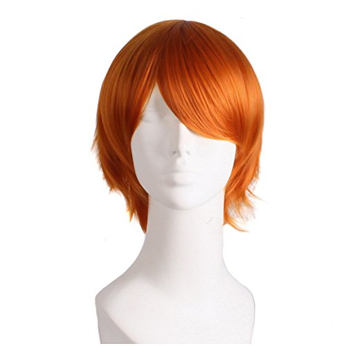 Danlier 35cm short straight synthetic wigs cosplay male heat resistant anime cosplay wigs for men,orange -