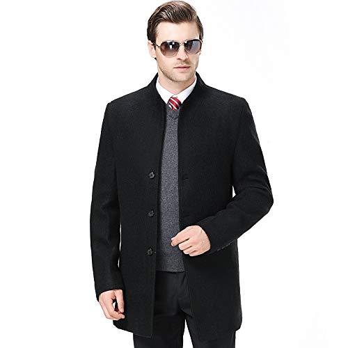 Hgdr Hombres Chaqueta Coat Casual Para Vestir Black Pea Prendas Pecho De Exteriores Negocios Negro Abrigo Invierno Un Caliente Parka Gabardinas Lana Solo Cachemira rwYq0x4Y1