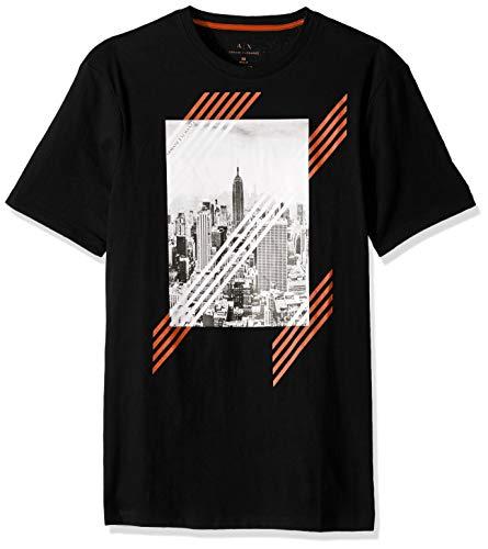 A X Armani Exchange Men's Short Sleeve NYC Skyline Graphic T-Shirt, Black, XXL