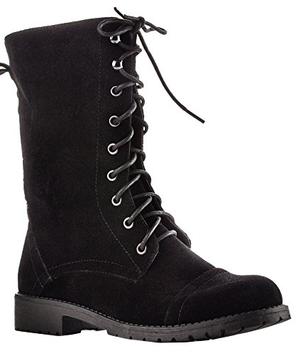 ROF Vegan Leather Lug Heel Ankle to Mid Calf Lace Up Zipper (Motorcycle Zipper Boot)