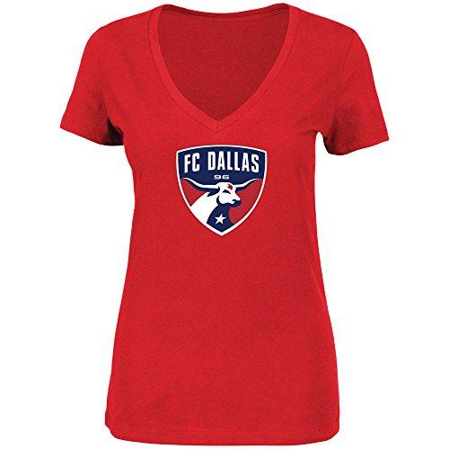 - VF FC Dallas MLS Women's Team Logo V-Neck T-Shirt Red (Small)