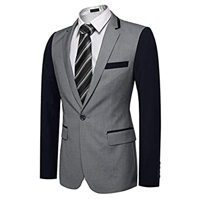 Men's Fitted Premium Blazer Jacket Casual Pacthwork One Button Coat