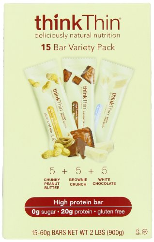 thinkThin Variety Pack (arachide croquant, Brownie Crunch, White Chocolate Chip), sans gluten, Bars 2.1 onces (Pack de 15)