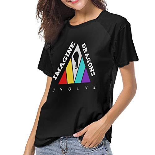 Women's T Shirts Imagine-The Dragons-Evolve Raglan Shirt Short Sleeve Baseball Tee Black