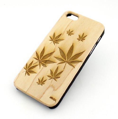 GENUINE WOOD Organic Snap On Case Cover for APPLE IPHONE 5 / 5S - PLANT LIFE weed 420 marijuana og kush mj bob marley purple cali diesel