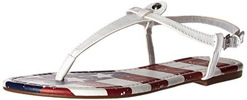 Rampage Women's Pashmina Flat Sandal, White Patriotic, 7 M US