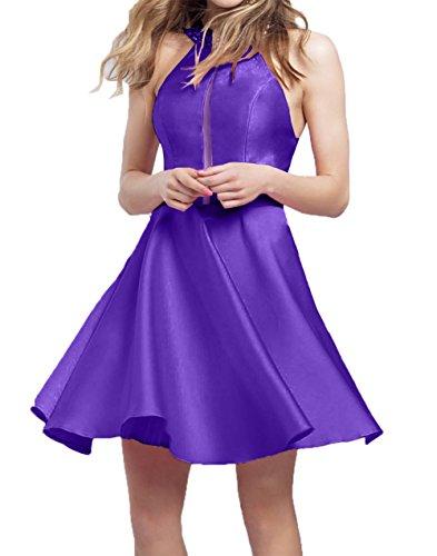 Violett Mini Neu Heimkehr Kurzes Damen Satin Tanzekleider Abendkleider Charmant linie A Cocktailkleider 2018 4qHw7xT