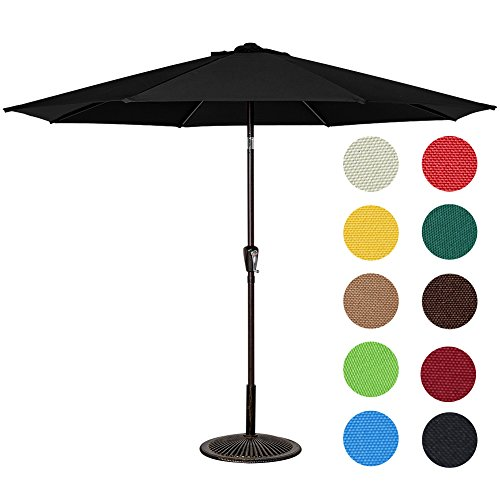 Sundale Outdoor 10 Feet Aluminum Market Umbrella Table Umbrella with Crank and Auto Tilt for Patio, Garden, Deck, Backyard, Pool, 8 Alu. Ribs, 100% Polyester Canopy (Black Patio Umbrellas)