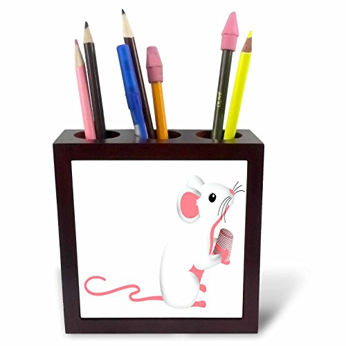 3dRose Anne Marie Baugh - Illustrations - Cute Pink and White Sewing Mouse With A Sewing Thimble Illustration - 5 inch tile pen holder (ph_264966_1)