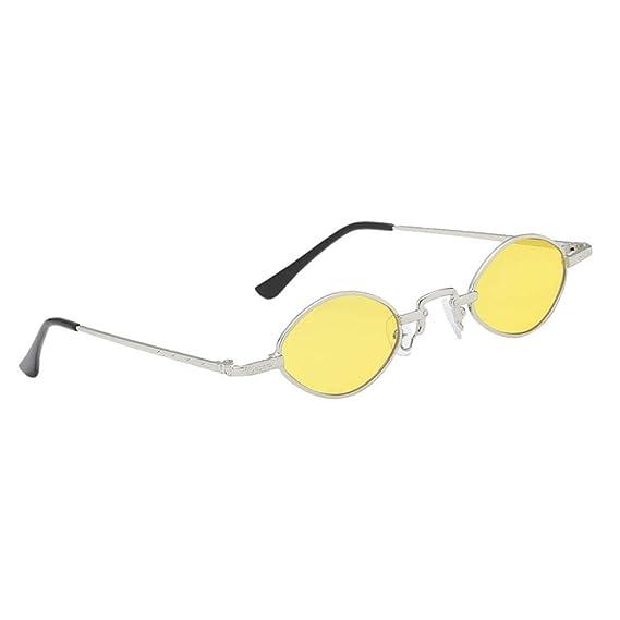 eaae96bc44 Baoblaze Gafas de Sol Lentes Ovaladas Marco Metal Estilo Vintaje para Mujer  - Amarillo plateado, tal como se describe: Amazon.es: Ropa y accesorios