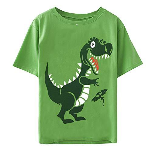 Little Hand Boys Shirts Cotton Crewneck Boys T-Shirt Green Short Sleeve Tops Tees Shirts Size 4 5 ()