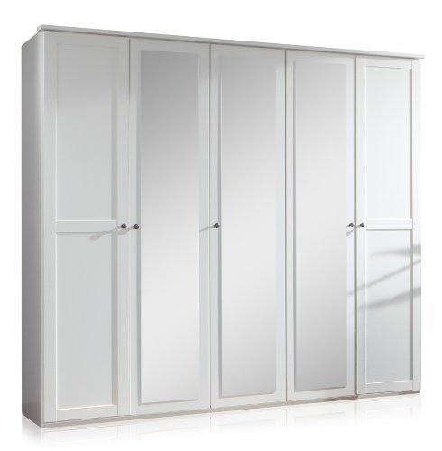 Wimex 985566 Drehtürenschrank 5-türig, 3 Spiegel, 225 x 210 x 58 cm, Landhausoptik, Front und Korpus alpinweiß