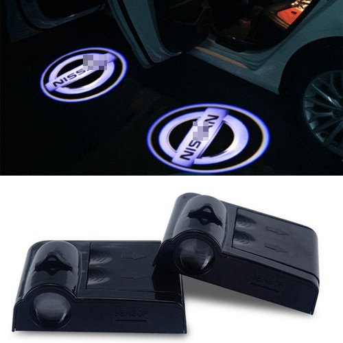 Car Logo Emblem (2Pcs Wireless Universal Car Projection LED Projector Door Shadow Light Welcome Light Laser Emblem Logo Lamps Kit For all Cars,No Drilling Required (Nissan))