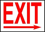 Exit Right Arrow Emergency Exit OSHA / ANSI LABEL DECAL STICKER 10 inches x 7 inches