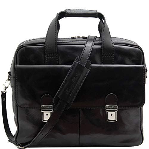 Tuscany Leather Reggio Emilia Exclusive leather laptop case Black