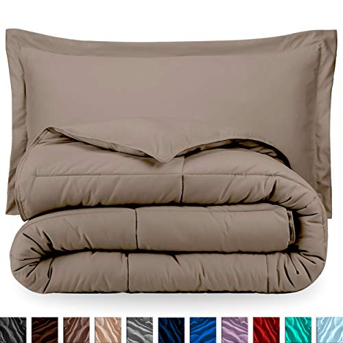Bare Home Comforter Set - Queen Size - Goose Down Alternative - Ultra-Soft - Premium 1800 Series - Hypoallergenic - All Season Breathable Warmth (Queen, Taupe)