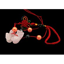 Rose Quartz Mandarin Ducks /Yuan yang Charm Hanging for Romance Love Fidelity (With Betterdecor Pouch)