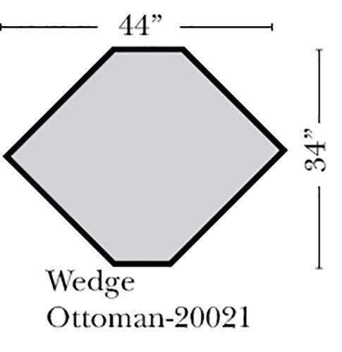 Oak Plain Wedge (Omnia Leather Spencer Wedge Ottoman in Leather, Honey Oak Legs, Eugene High Plains)