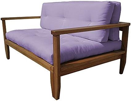 Vivere Zen – Sofá Cama de Madera Artesanal futón Edera Estructura Natural con Madera Algodón rilavorato + látex 11 cm: Amazon.es: Hogar