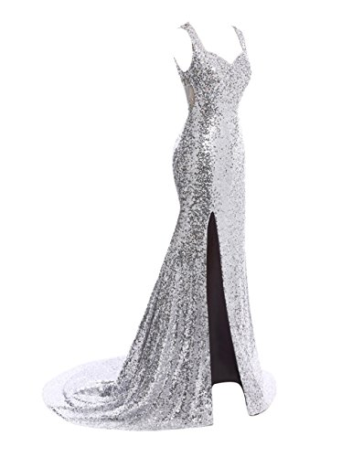 s Bess Mermaid Prom Split Sequined Long Bridal Dress Evening Women Gold Sheer Back pfxnrf