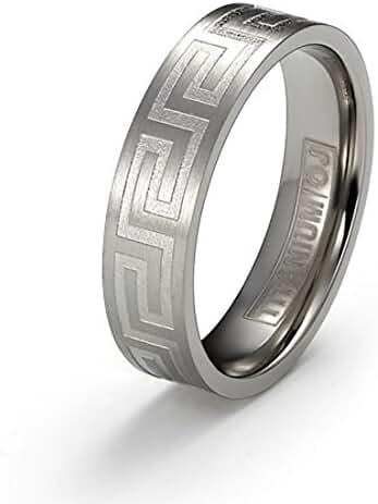 6mm Titanium Ring Brushed Surface Polished Greek Key Design Comfort Fit SZ 6-12 Free Engraving Service