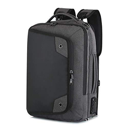 Anti-Theft Mens Briefcase 17 Inch Laptop Bag, Combination Lock Computer Shoulder Backpack, Water Resisatant Messenger Briefcases 11.8X16.5 in,LightGray