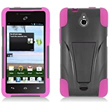 LF Pink Black Hybrid Dual Layer case with Stand, Lf Stylus Pen and Wiper For TracFone, StraightTalk, Net 10 Huawei Ascend Plus H881C