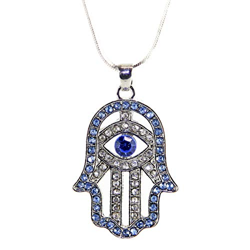 Hamsa Necklace Hand of God Sky Evil Eye Charm Pendant Jewish Judaica Kabbalah