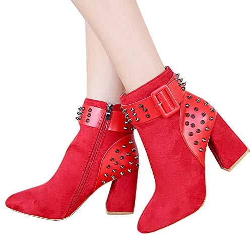De Botines Martin Zapatos Botas Moda Remache Alto De ALIKEEY Mostaza Fiesta Mujer Negra Rojo Plataforma Tacón Rosas zwvFdWq