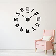 DIY Wall Clock Silent 3D Acrylic Sticker Roman Numbers Adhesive Modern Art Wall Clock Parts Kit Home Decorations for Office Living Room Bedroom (black)