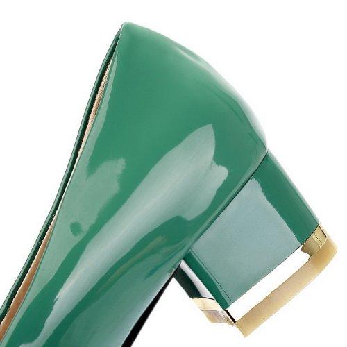 Pompes Vert Avec Bowknot Pu Rond Fermé Femmes À Talon Le Cuir Métal Bas Voguezone009 En Solides Verni Bout TpqSw1P