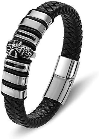 ステンレス鋼磁気チャーム黒本革ブレスレット男性ロープ頭蓋骨編組ハンドアクセサリージュエリーバングル21.5センチ