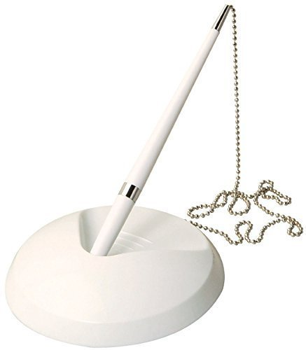 (PACK OF 5 Range Wholesale White Reception- Pen On Chain With Stand +15 Refills (Bank, Counter etc.))