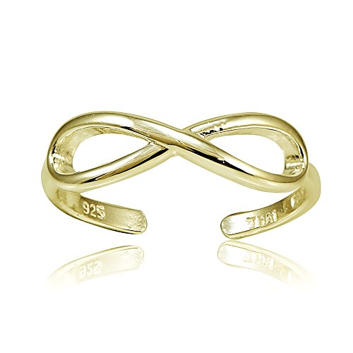 Hoops & Loops Yellow Gold Flashed Sterling Silver Figure 8 Infinity Toe Ring