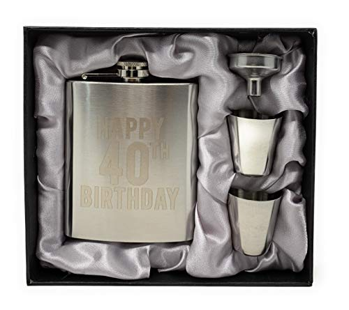 Happy Birthday Flasks, Happy 21st, 30th, 40th, and 50th Birthday Flasks! Set of 1 7oz Engraved Stainless Steel Flask with 2 Shot Glasses and a Funnel! Perfect Birthday Present (40th Birthday)