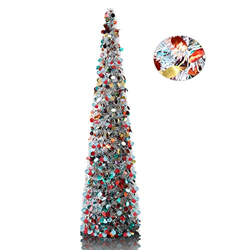 YuQi 5' Silver Point Pop-Up Artificial Christmas Tree,Collapsible Pencil Christmas Trees for Apartments,Dorm Rooms,Fireplace or Party