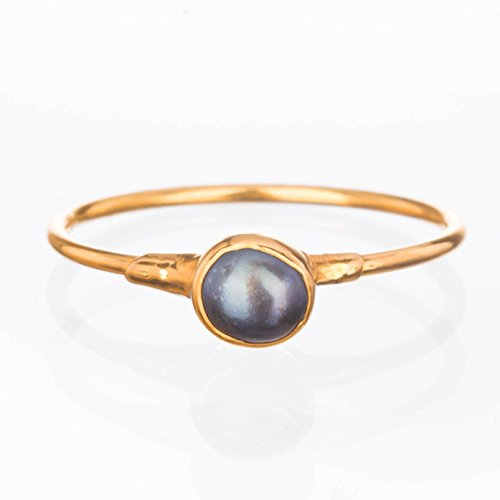 Raw Black Pearl Ring, Yellow Gold, Size 8, Artisan Jewelry