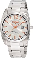 Hector Men's 667065 Silver and White Dial Bracelet Date Watch