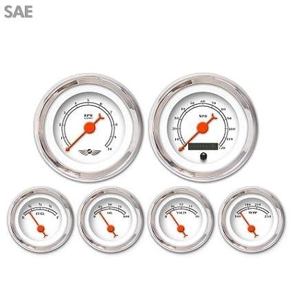 Orange Classic Needles, Chrome Trim Rings, Style Kit DIY Install Aurora Instruments 4407 American Classic White SAE 6-Gauge Set with Emblem