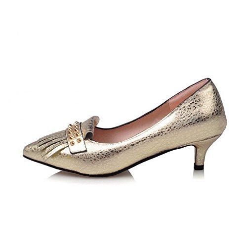 AllhqFashion Damen Ziehen auf Spitz Zehe Mittler Absatz Eingelegt Pumps Schuhe Golden