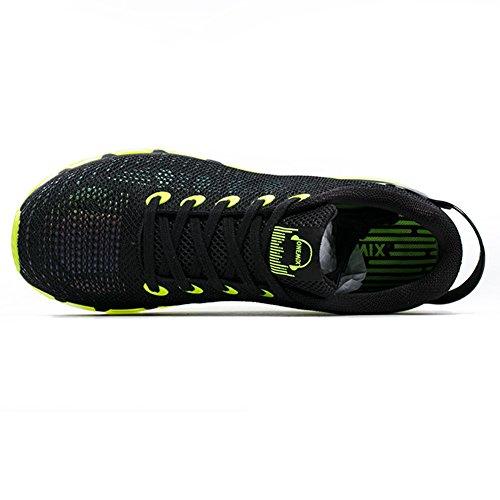 YiDiar Männer Athletic Trail Luftpolster Laufschuhe Road Jogging Turnschuhe Schwarz Grün