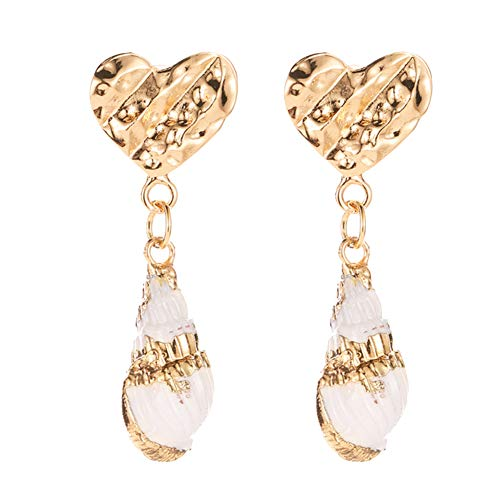 Wintefei Ethnic Embossed Heart Conch Dangle Stud Earrings Women Summer Beach Jewelry Art Gift Golden