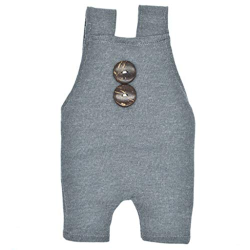 Newborn Baby Photography Prop Double Buttons Acrylic Knitted Overalls Romper Outfit(Gray,Free Size)]()