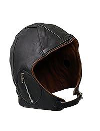 Aviator Black Leather Vintage WWII Hat 2XL