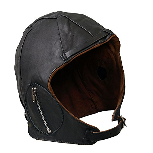 Aviator Black Leather Vintage WWII Hat (The Red Baron Costume)