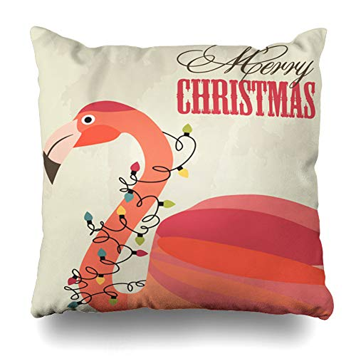 Ahawoso Throw Pillow Cover Pink Flamingo Merry Christmas Holidays Santa Tropical Bird Garland Hat Modern Design Decorative Pillowcase Square Size 20