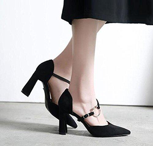 KUKI Dick mit Wildleder Kampf Farbe Wort wies spitz weiblichen Sandalen High Heels Schuhe 3