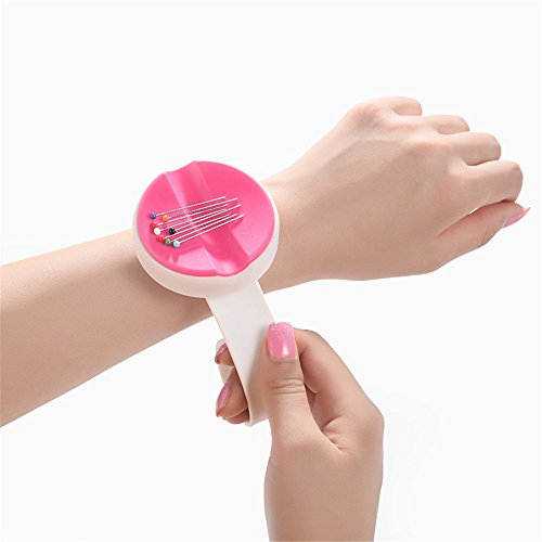 YEQIN NEW Magnetic Wrist Pin Holder 'Wrist Pinny' Slap Band 5 Vibrant Colours available (Rose red) by YEQIN