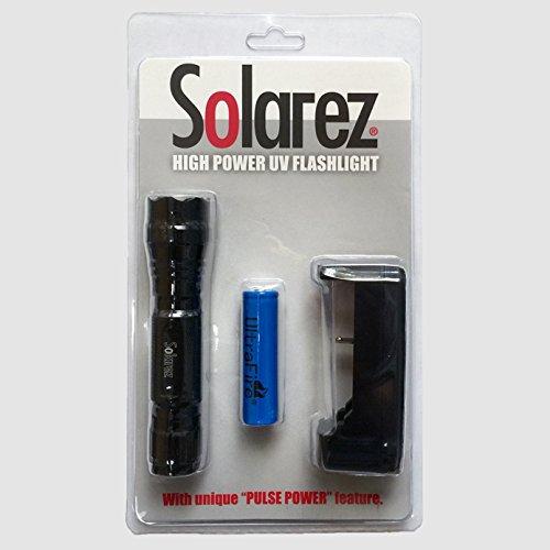 SOLAREZ HIGH Output UV Flashlight RESINATOR KIT - Best UV Light and Blacklight for Home & Hotel Inspection, Pet Urine & Stains - Ultra Intensity 18W 385-395nm LEDs Spot Counterfeit Money!