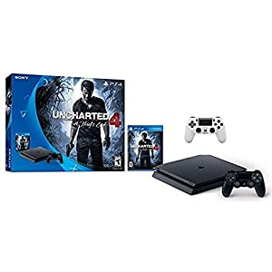 Sony PlayStation 4 500GB Console - Uncharted 4 Limited Edition Bundle with Dual Shock 4 Wireless Controller - Glacier White